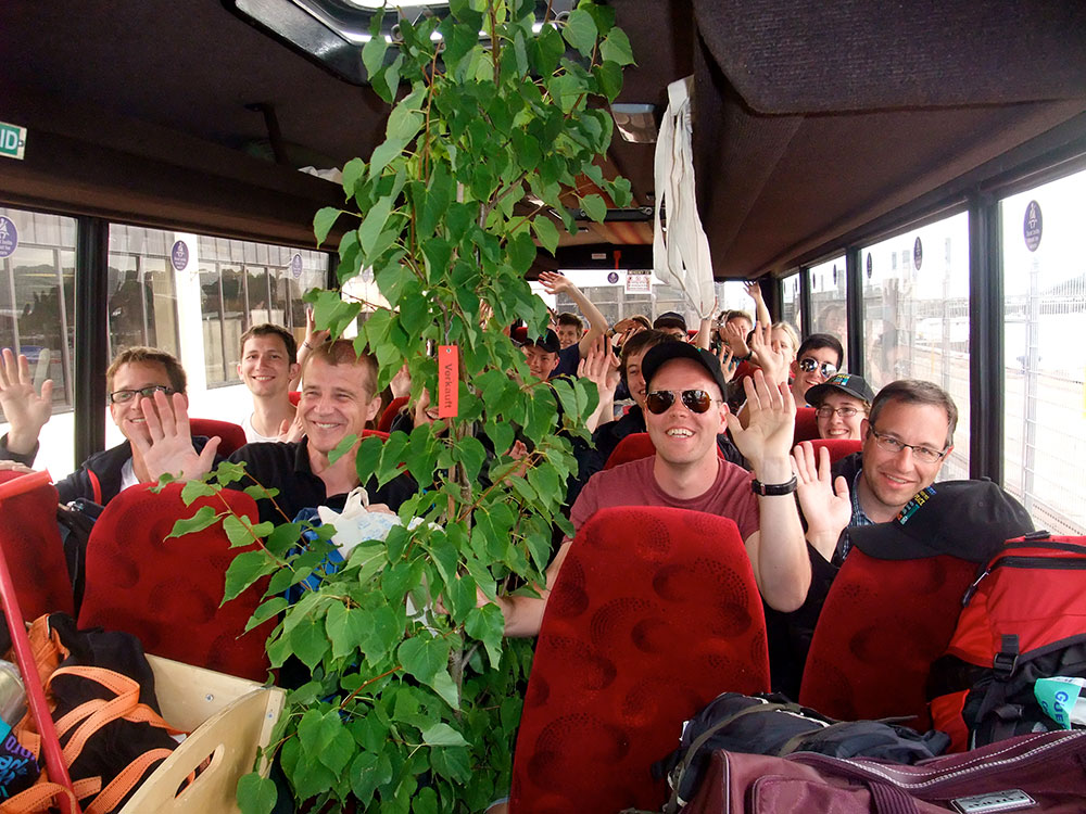 Visiting Biberach students and the Linden Tree of Peace