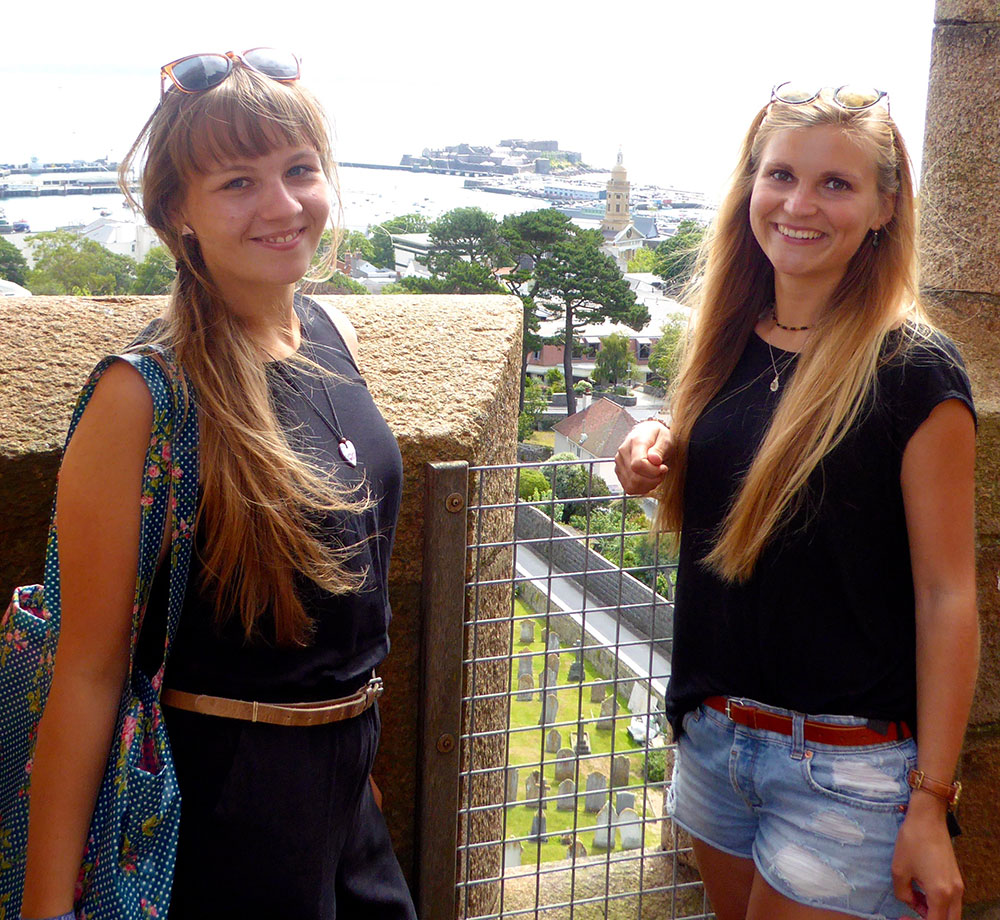 Caro and Luzi, student teachers from Biberach who spent a summer internship teaching in Guernsey