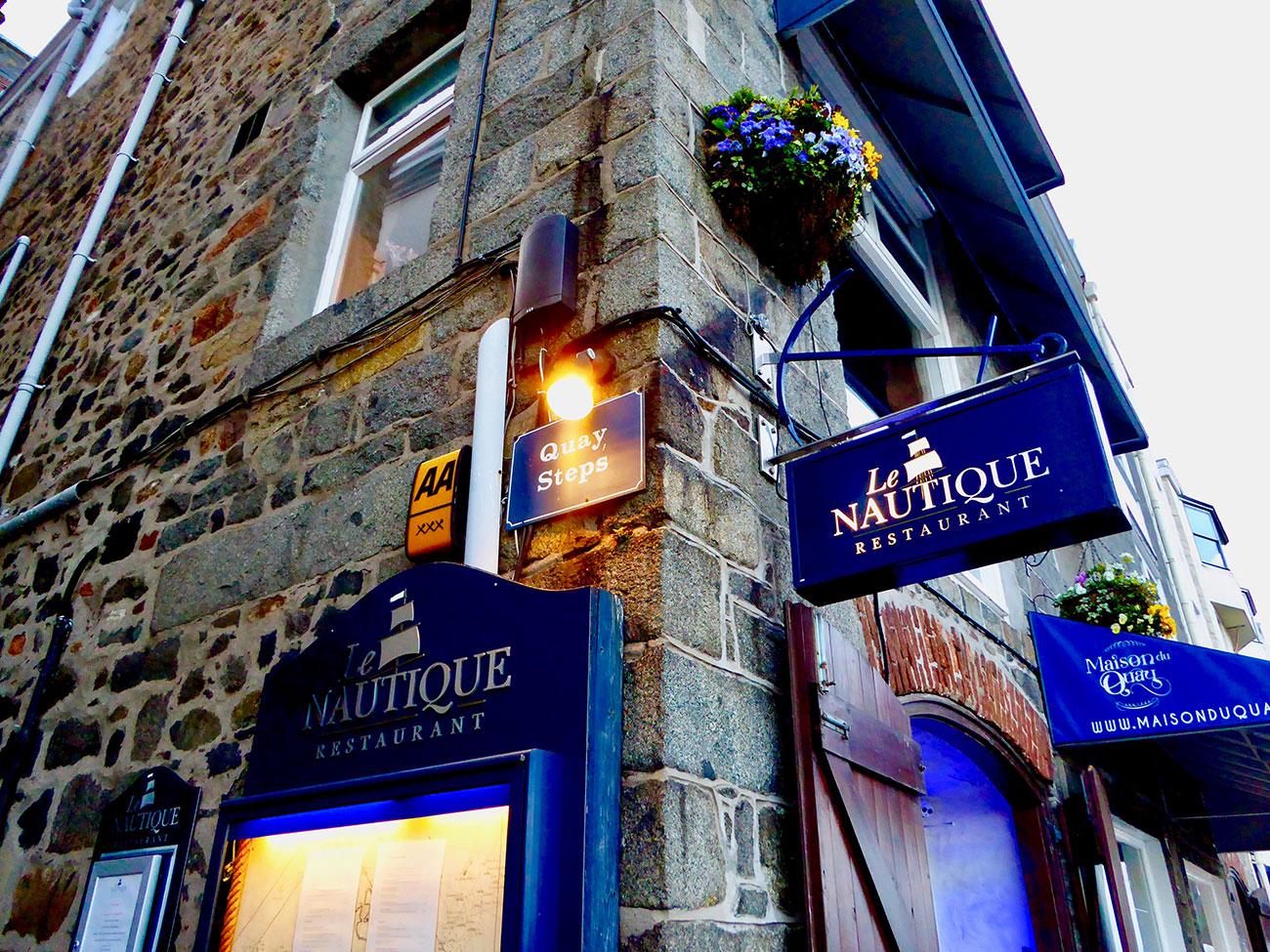 Le Nautique restaurant lies above the harbour in St Peter Port, Guernsey's capital